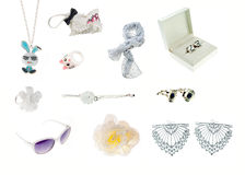 Collection of white accessories Royalty Free Stock Photo
