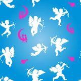 Collection of white angels silhouettes and hearts, seamless pattern on Valentine`s Day, on blue background, stock illustration