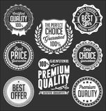 Collection of White Badges on a Black Background, Premium Quality. Collection of White Badges on a Black Background Stock Illustration