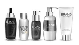 Collection of White  Bottle Template for Ads or Magazine Background Stock Images