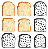 vector collection of white bread slices Royalty Free Stock Photos