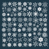 Collection of white christmas snowflakes Stock Photos