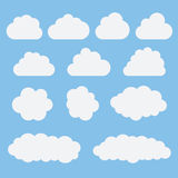 Collection of white cloud icons, signs,weather symbols flat styl Stock Photography