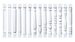 Collection of white isolated columns, pilasters, balusters Royalty Free Stock Photos