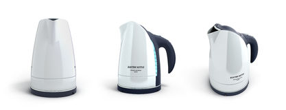 Collection of white electric kettle with a long handle in front. 3d render on white background Stock Images