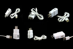 Collection of white electric USB cable isolated on black Stock Photography