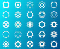 Collection of white gear wheel icons Royalty Free Stock Photo