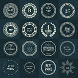 Collection white labels for promo seals on green blue background Royalty Free Stock Image