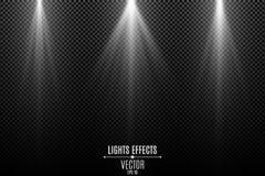 Collection of white lights effects isolated on a dark transparent background. White stylish rays. Lamp beams. Neon glowing. Vector. Illustration. EPS 10 stock illustration