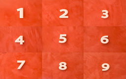 Collection of white number on red Royalty Free Stock Photo