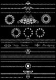 Collection of white patterns for brushes on black background. Stock Photography