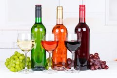 Collection of white rose red wine wines grapes royalty free stock images