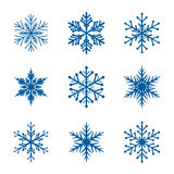 Collection of White Snowflakes. Royalty Free Stock Photography