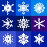 Collection of white snowflakes isolated on blue, violet and purple background. Snow icons. Vector. Collection of white snowflakes isolated on blue, violet and stock illustration