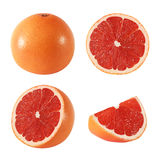 Collection of whole and cut grapefruit fruits isolated Royalty Free Stock Photo