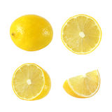 Collection of whole and cut lemon fruits. On white background Royalty Free Stock Photo