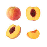 Collection of whole and cut peach fruits isolated Stock Photos
