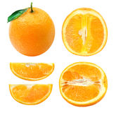 Collection of whole and sliced orange fruits Stock Photo