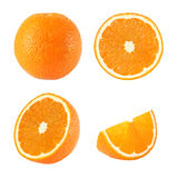 Collection of whole and sliced orange fruits isolated Stock Photo