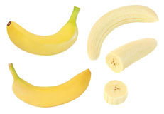Collection of whole and sliced yellow banana fruits isolated on white with clipping path. Collection of whole and sliced yellow banana fruits isolated on white Stock Photos