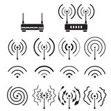 Collection of wifi and wireless signal wave and some vector router. Isolated on white background Stock Image