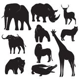 Collection of Wild Animal silhouettes stock illustration