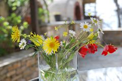 Simple little bunch of wildflowers in vase royalty free stock image