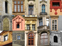 Collection of windows. Of Prague stock photos