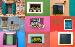 Collection of windows on colored walls royalty free stock photos