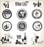 Collection of wine badges and labels. Isolated on white background Stock Photos