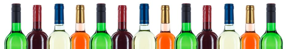 Collection of wine bottles bottleneck in a row red banner isolated on white