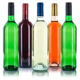 Collection of wine bottles colorful red white rose isolated on w stock photography