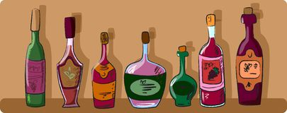 collection of wine bottles vector Stock Photography