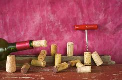 Collection of wine corks. Wine corks,corkscrew,bottle of wine, free copy space, wine concept for the new season 2014 Royalty Free Stock Image