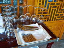 Collection of wine glasses and cutlery Stock Images
