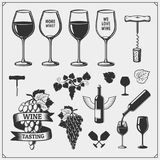 Set of windsurfing emblems, labels and badges. Surf design elements.Collection of Wine icons and design elements. stock illustration