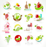 Collection of wine icons Stock Photos