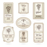 Collection of wine labels Royalty Free Stock Image