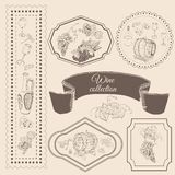 Collection of wine product elements in frame. Hand drawn sketch objects in vitage style. vector illustration