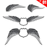 001 Collection of wings design element vector illustration eps10. Collection of wings design element isolated on white background vector illustration eps10 Royalty Free Stock Photos