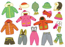 Collection of winter children's clothing Stock Photo