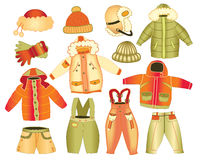 Collection of winter childrens clothing Royalty Free Stock Image