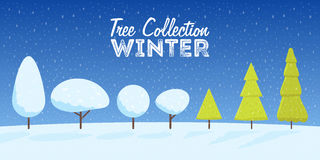 Collection of winter and Christmas snowy trees cartoon style. Vector illustration Royalty Free Stock Photo
