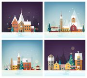 Collection of winter cityscapes or urban landscapes with holiday street decorations and decorated buildings. City or. Town in New Year or Christmas eve. Festive Stock Image
