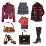 collection winter clothes Royalty Free Stock Image