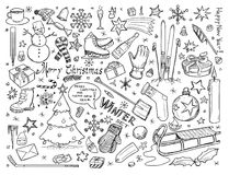 Collection of winter doodles. Illustration of winter or Christmas elements set Stock Photos