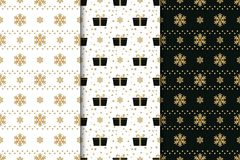 Collection of winter holidays seamless patterns with snowflakes, bows, gift boxes and stars. Golden, black and white. Background Vector Illustration