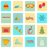 Collection of winter icons activities in flat design style. Set of winter icons activities in flat design style Stock Photos