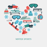 Collection of winter icons activities in flat design style Stock Image