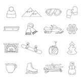Collection of winter icons activities in flat design style. Set of winter icons activities in flat design style Royalty Free Stock Photo